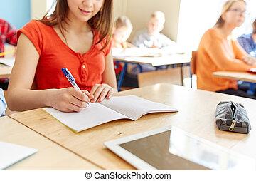 skola, uppe, skrift, anteckningsbok, student, nära