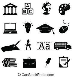 skola, utbildning, ikonen