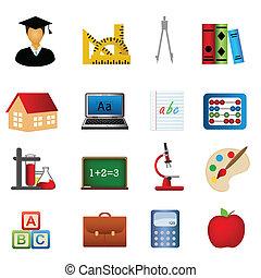 skola, utbildning, sätta, ikon