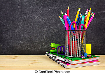 skola, ved, chalkboard, bakgrund, skrivbord, skaffar