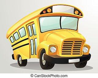 skola, vektor, buss, tecknad film