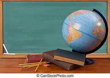 skolböcker, gammal, skrivbord