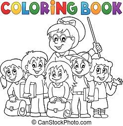 skole, coloring, 1, tema, bog, klasse