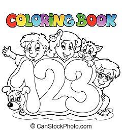 skole, coloring bog, antal