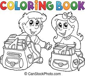 skole, coloring bog, børn