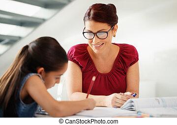 skole, datter, hjælper, mor, hjem, undervisning, hjemmearbejdet