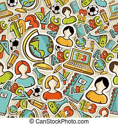 skole, farverig, iconerne, pattern., seamless, tilbage, undervisning