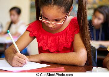 skole, gruppe, studerende, admission, afhøringen, prøve
