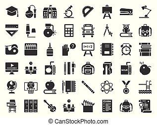 skole, ikon, pulje, sæt, sharpener, beslægtet, stak, bøger, experiment, konstruktion, ugle, bus, sådan, hæfte, undervisning, glyph, chalkboard, svømning