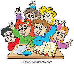 skole kids, gruppe