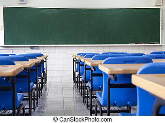 skole, klasseværelse, tom
