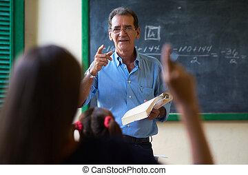 skole, spørgsmål, hånd, spørge, pige, lærer, rejsning