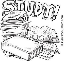 skole, studium, skitse