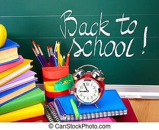 skole, supplies., tilbage