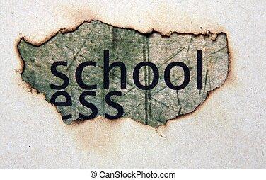 skole, tekst, på, avis, hul
