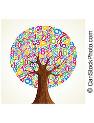skole, undervisning, begreb, træ, hånd