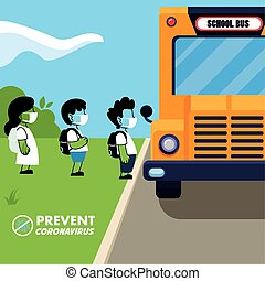 skoleelever, masker, bus