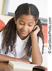 skolepige, bog, læsning, klasse