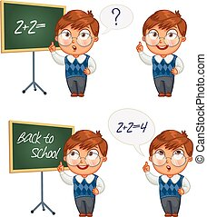 skolpojke, chalkboard, skrift