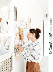 skoncentrowany, dama, fason, ilustrator, drawing.