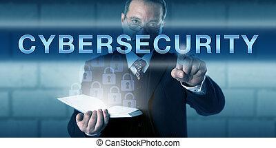 skoncentrowany, dotykanie, ciso, cybersecurity