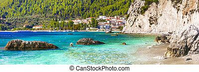 Best of Skopelos island - picturesque village Neo Klima and Hovolos beach. Sporades, Greece