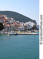 Skopelos island, Greek Sporades view above from the port