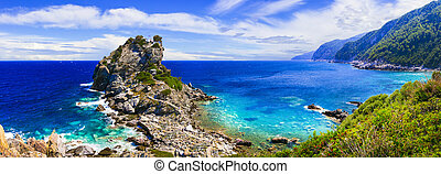 Skopelos island. view of Agios Ioanis church on the rock, popular touristic attraction. Sporades, Greece