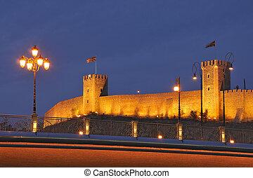 Skopje night scene - The Kale citadel and the bridge