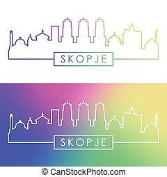 Skopje skyline. Colorful linear style.