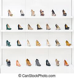 skor, kvinnlig, utställningsmonter