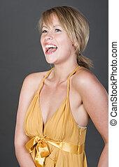 skott, av, a, vacker, blondin, flicka, in, gyllene, klänning, skratta