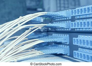skott, av, nätverk, kablar, och, servaren, in, a, teknologi,...