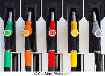 skott, bensinstation, pumpar, drivmedel, horisontal