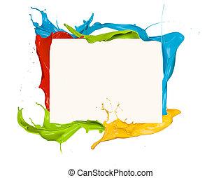 skott, färgad, ram, isolerat, målarfärg plaska, bakgrund,...