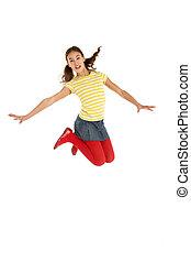 skott, ung, bland, hoppning, studio, flicka, luft