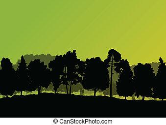 skov, træer, silhuetter, naturlig, vild, landskab, detaljeret, illustration, baggrund
