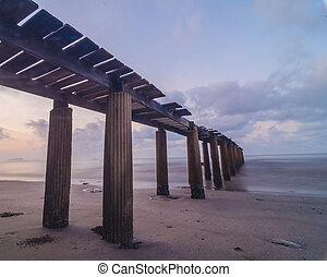 skovbevoksede, bro, ind, den, havn, mellem, s