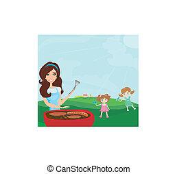 skovtur, familie, park, illustration, vektor, har