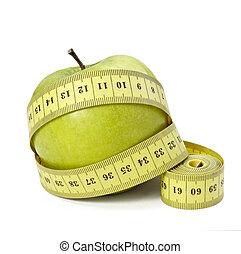 skräddare, äpple, vikt, mat, fitness, kost, längd, frukt,...
