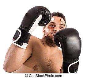 skrämd, boxare