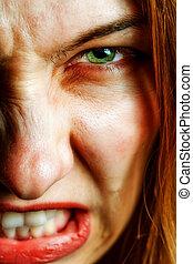 skrämmande, ögon, kvinna, ilsket, ont, ansikte