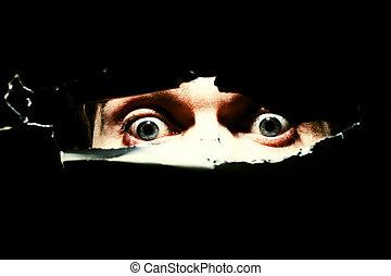 skrämmande, ögon, man