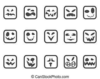 skrämmande, ansikte, fyrkant, sätta, ikonen