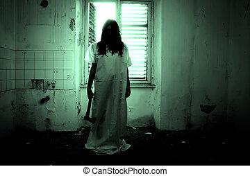 skrämmande, fasa, kvinna, scen