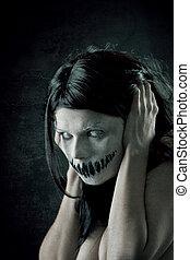 skrämmande, flicka, mun, fasansfull