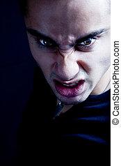 skrämmande, frown, sinister, vampyr, ont, man