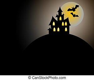 skrämmande, halloween, hus