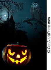 skrämmande, halloween, nära, pumpa