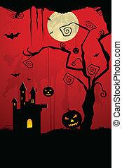 skrämmande, halloween natt